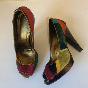 Coach Patchwork Multi Color Peep Toe Heels Size 8